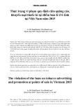 Thực trạng vi phạm quy định cấm quảng cáo, khuyến mại thuốc lá tại điểm bán lẻ ở 6 tỉnh tại Việt Nam năm 2015