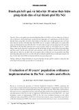 Đánh giá kết quả và hiệu lực 10 năm thực hiện pháp lệnh dân số tại thành phố Hà Nội