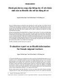 Đánh giá dự án cung cấp thông tin về sức khỏe sinh sản m-Health cho nữ lao động di cư