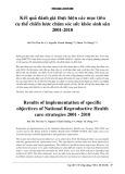 Kết quả đánh giá thực hiện các mục tiêu cụ thể chiến lược chăm sóc sức khỏe sinh sản 2001- 2010