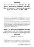 Thanh toán chi phí khám chữa bệnh theo định suất và quyền lợi của người khám chữa bệnh bằng thẻ bảo hiểm y tế tại các bệnh viện tuyến huyện, Hải Dương năm 2009- 2010