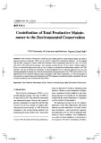 Contribution of total productive mainte-nance to the enviromental conservation