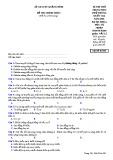 Đề thi thử THPT Quốc gia môn Vật lí năm 2018 - Sở GD&ĐT Quảng Bình - Mã đề 001