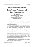 Rural industrialization in korea: Policy program, performance and rural entrepreneurship