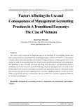 Factors affecting the use and consequences of management accounting practices in a transitional economy: The case of Vietnam