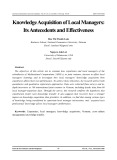 Knowledge acquisition of local amnagers: Its antecedents and effectiveness