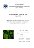 Tiểu luận: Đặc điểm các phương pháp hóa học sử dụng trong ức chế sinh trưởng của vi sinh vật trong thực phẩm