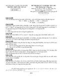 Đề thi HK 1 môn Hóa học lớp 11 Nâng cao năm 2012 - THPT Chu Văn An - Mã đề 1
