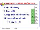 Bài giảng Hóa học vô cơ: Chương 7 - GV. Nguyễn Văn Hòa