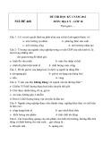 Đề thi HK 2 môn Địa lý lớp 10 năm 2012 - Mã đề 468