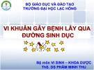 Bài giảng Vi khuẩn gây bệnh lây qua đường sinh dục - ThS. DS Phẩm Thu Minh