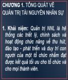Bài giảng Quản trị nguồn nhân lực: Chương 1 - ThS. Trần Quang Cảnh