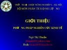 Bài giảng Phương pháp nghiên cứu kinh tế: Chương 1 - Ngô Thị Thuận