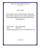 Luận văn Thạc sĩ ngành Kinh tế nông nghiệp: Phát triển chăn nuôi lợn thịt theo tiêu chuẩn thực hành chăn nuôi tốt (VietGAHP) trên địa bàn huyện Diễn Châu, tỉnh Nghệ An