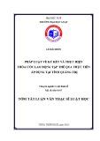 Tóm tắt Luận văn Thạc sĩ Luật học: Pháp luật về ký kết và thực hiện thỏa ước lao động tập thể qua thực tiễn áp dụng tại tỉnh Quảng trị