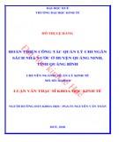 Luận văn Thạc sĩ Khoa học Kinh tế: Hoàn thiện công tác quản lý chi ngân sách nhà nước ở huyện Quảng Ninh, tỉnh Quảng Bình