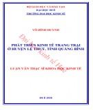 Luận văn Thạc sĩ Khoa học Kinh tế: Phát triển kinh tế trang trại ở huyện Lệ Thủy, tỉnh Quảng Bình