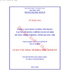 Luận văn Thạc sĩ Khoa học Kinh tế: Nâng cao chất lượng công tác thanh tra thu, chi ngân sách trên địa bàn huyện Quảng Ninh, tỉnh Quảng Bình