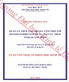 Luận văn Thạc sĩ Khoa học Kinh tế: Quản lý thuế giá trị gia tăng đối với Doanh nghiệp xây dựng tại Cục Thuế tỉnh Quảng Bình