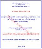 Luận văn Thạc sĩ Khoa học Kinh tế: Quản lý nguồn nhân lực chất lượng cao tại Sở Khoa học và công nghệ tỉnh Quảng Trị