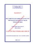Luận văn Thạc sĩ Khoa học Kinh tế: Phát triển doanh nghiệp ngoài nhà nước trên địa bàn huyện Quảng Trạch, tỉnh Quảng Bình