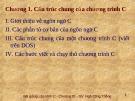 Bài giảng Lập trình C: Chương 1 - Ngô Công Thắng