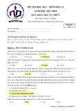 Đề thi học kì 1 môn Hóa học 12 năm 2017-2018 có đáp án - Trường THPT Nguyễn Du (Ban KHTN)