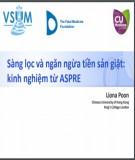 Sàng lọc và ngăn ngừa tiền sản giật - kinh nghiệm từ ASPRE