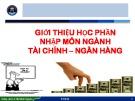 Bài giảng Nhập môn ngành Tài chính - Ngân hàng: Bài 1 - ThS. Lê Thị Minh Nguyên