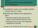 Lecture Communication research - Chapter 17: Reading and writing the qualitative research report