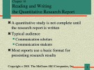 Lecture Communication research - Chapter 16: Reading and writing the quantitative research report