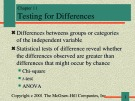 Lecture Communication research - Chapter 11: Testing for differences
