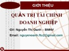 Bài giảng Quản trị tài chính doanh nghiệp: Chương mở đầu - Nguyễn Thị Oanh