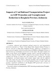 Impacts of coal railroad transportation project on GDP promotion and unemployment reduction in Bengkulu province, Indonesia
