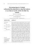 Determining impacts of attitude on household recycling behavior using path analysis: A case study in Can Tho and Ho Chi Minh city, Vietnam