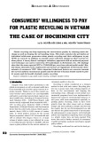 Consumers' willingness to pay for plastic recycling in Vietnam the case of Ho Chi Minh city