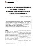 Integrating international accounting standards into financial statement of Vietnam's joint-stock companies prepared for listing on foreign stock markets