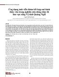 Ứng dụng ảnh viễn thám kết hợp mô hình thủy văn trong nghiên cứu dòng chảy lũ lưu vực sông Vệ tỉnh Quảng Ngãi
