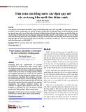 Tính toán cân bằng nước xác định quy mô các ao trong khu nuôi tôm thâm canh