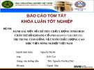 Báo cáo khoa luận tốt nghiệp: Đánh giá một số chỉ tiêu chất lượng tinh dịch chim trĩ đỏ khoang cổ tại trung tâm giống vật nuôi chất lượng cao Học viện nông nghiệp Việt Nam