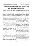 Xác định đặc điểm tác giả bài viết diễn đàn tiếng Việt dựa trên âm tiết và vần
