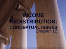 Lecture note Public finance (10th Edition) - Chapter 12: Income redistribution: Conceptual issues