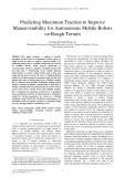 Predicting maximum traction to improve maneuverability for autonomous mobile robots on rough terrain
