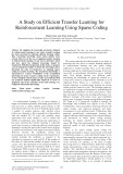 A study on efficient transfer learning for reinforcement learning using sparse coding