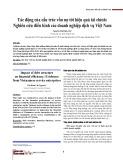 Tác động của cấu trúc vốn nợ tới hiệu quả tài chính: Nghiên cứu điển hình các doanh nghiệp dịch vụ Việt Nam