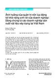 Ảnh hưởng của quản trị vốn lưu động tới khả năng sinh lời của doanh nghiệp: Bằng chứng từ các doanh nghiệp sản xuất vật liệu xây dựng tại Việt Nam