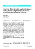 Các nhân tố tác động đến quyết định sử dụng dịch vụ fintech trong hoạt động thanh toán của khách hàng cá nhân tại Việt Nam