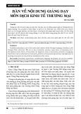 Bàn về nội dung giảng dạy môn dịch kinh tế thương mại