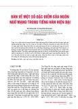 Bàn về một số đặc điểm của ngôn ngữ mạng trong tiếng Hán hiện đại