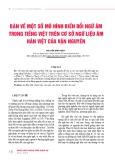 Bàn về một số mô hình biến đổi ngữ âm trong tiếng Việt trên cơ sở ngữ liệu âm Hán Việt của vận nguyên